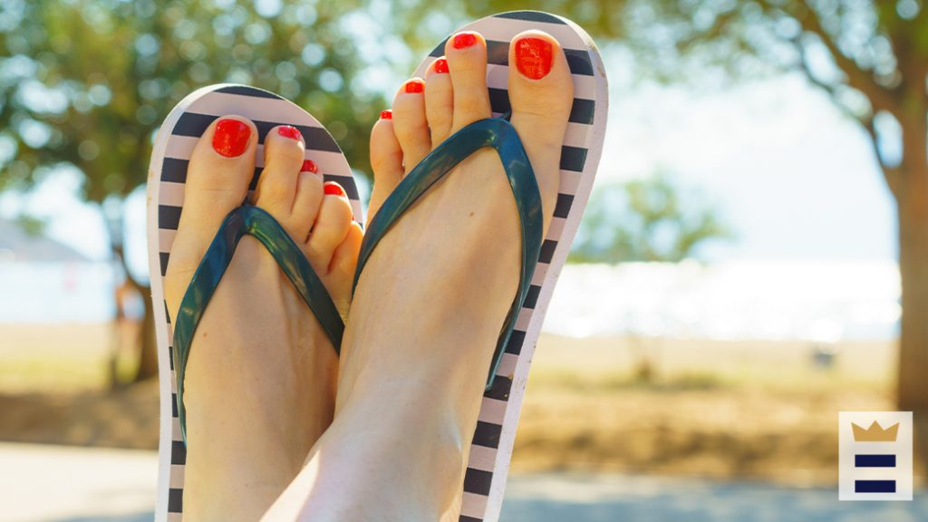 women wearing a flip flop with arch support