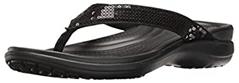 A black color Crocs Women's Capri V Sequin Flip Flop Sandals which is with arch support