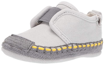 light brown color little girl learning to walking shoes with yellow color side line design