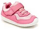 a pink color walking shoes with straps for baby girl learning to walk
