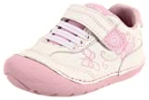 Light pink strap shoes for babies learning to walk