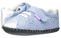 blue and white color with small strap toddler girl shoes model Pediped Jake Original